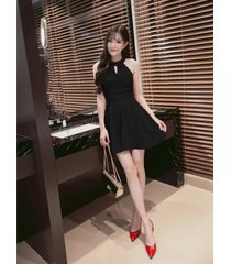 pf260 sexy cute sleveless swing mini dress, size s-xl, black