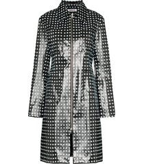 supriya lele cross-print rubber coat - black