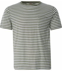 armor lux striped heritage t-shirt | khaki/natural | 76023-gxg