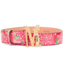 moschino floral-print logo belt - red