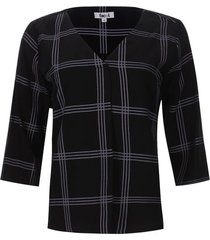 blusa 3/4 a cuadros color negro, talla l