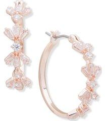 """anne klein baguette cluster medium hoop earrings, 1"""""""