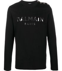 balmain logo print cotton sweatshirt - black