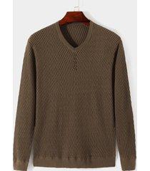 suéter de punto con cuello en v cálido de invierno para hombre