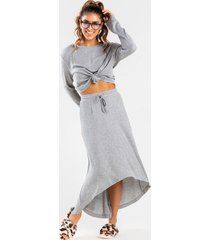 ashlyn high low drawstring skirt - gray