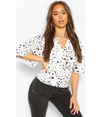 geweven mini-blouse met polkadots in kleine maten, wit