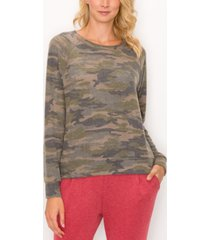 women's camouflage cozy raglan sweatshirt