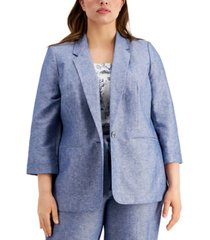 bar iii plus size 3/4-sleeve linen blazer, created for macy's