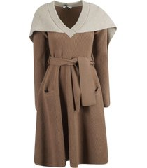 j.w. anderson cape v-neck dress