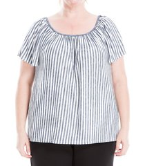 max studio women's plus striped short-sleeve top - ivory navy - size 3x (22-24)