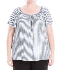 max studio women's plus striped short-sleeve top - ivory navy - size 2x (18-20)