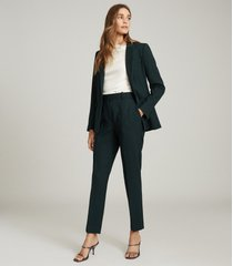 reiss sadie - slim fit tailored trousers in green, womens, size 14