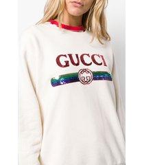 gucci sequin logo sweatshirt - neutrals