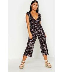 petite ditsy floral print wrap culotte jumpsuit, black