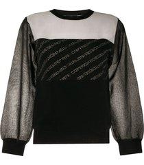 diesel contrast-panel sweatshirt - black