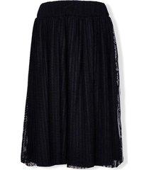 lapin house teen logo-panel mesh skirt - black