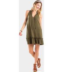 jeanna peasant ruffle dress - olive