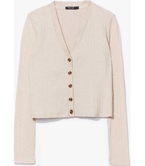 womens button our way ribbed knit cardigan - beige