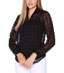 belldini black label button front clip dot blouse