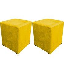 kit 02 puff decorativo dado quadrado suede amarelo - d'rossi