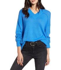 women's treasure & bond seam detail sweater, size xx-large - blue