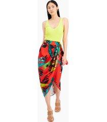 inc printed sarong wrap skirt, created for macy's