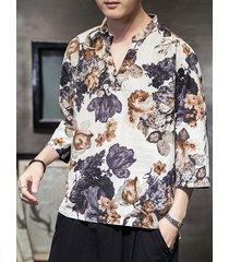 media manga de lino para hombres camisa cuello en v estampado de flores casual de vacaciones camisa top retro