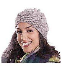 100% alpaca knit hat, 'andean comfort in mauve' (peru)