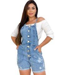 macaquinho jeans curto jardineira retrã´ - ewf jeans - azul - feminino - dafiti