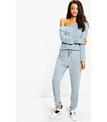 tall slash neck lounge jumpsuit, grey marl