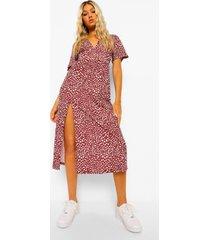 tall geweven midi jurk met stippen, berry