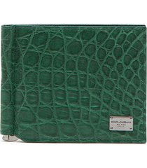 dolce & gabbana logo-plaque folding wallet - green