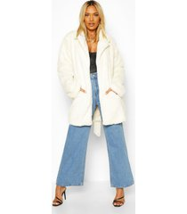 belted faux fur coat, cream