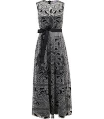 red valentino belted-waist lace dress