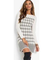 gebreide jurk met ruitpatroon