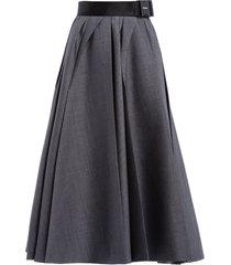prada belted waist pleated midi skirt - grey