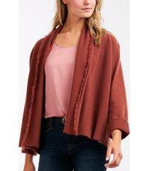 gebreid kimono-vest met franjes
