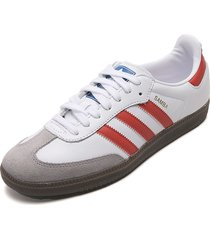 tenis lifestyle blanco-rojo-gris adidas originals samba og