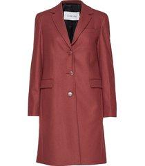wool cashmere melton wollen jas lange jas rood calvin klein