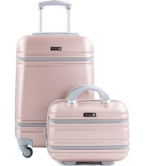 american sport plus varsity 2 piece carry-on cosmetic luggage set