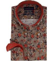 overhemd portofino oranje bloemenprint regular fit