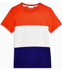 mens selected homme blue colour block organic cotton t-shirt