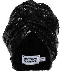 maryjane claverol adele beaded sequin turban - black