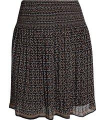 max studio women's plus ditsy-print chiffon skirt - black floral - size 1x (14-16)