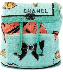 chanel pre-owned 1994 textured diamond quilted backpack - green