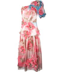 peter pilotto one shoulder floral embroidered dress - pink