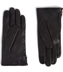 men's allsaints zip deerskin leather gloves, size small - black