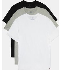 tommy hilfiger men's cotton classics crewneck undershirt 3pk black/grey heather/white - m