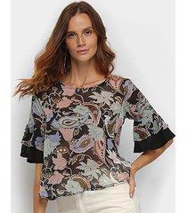 blusa top moda ampla estampada transparência feminina