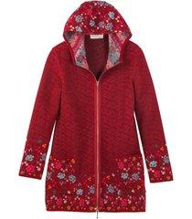 bloemrijke jacquard-mantel met capuchon en ritssluiting, rood-motief 36/38
